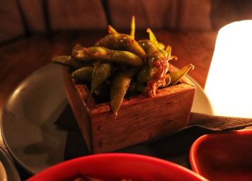 Sweet and Spicy Edamame glazed in Soy Sauce